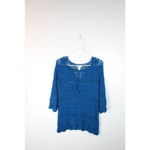 Lucky Brand Size 6 Blue Teal Crochet Top